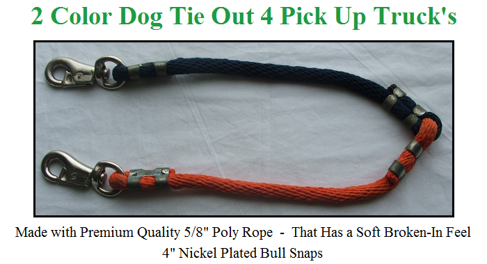 Dog Tie Down for Pickup Trucks - 1 Dog - Multi Color