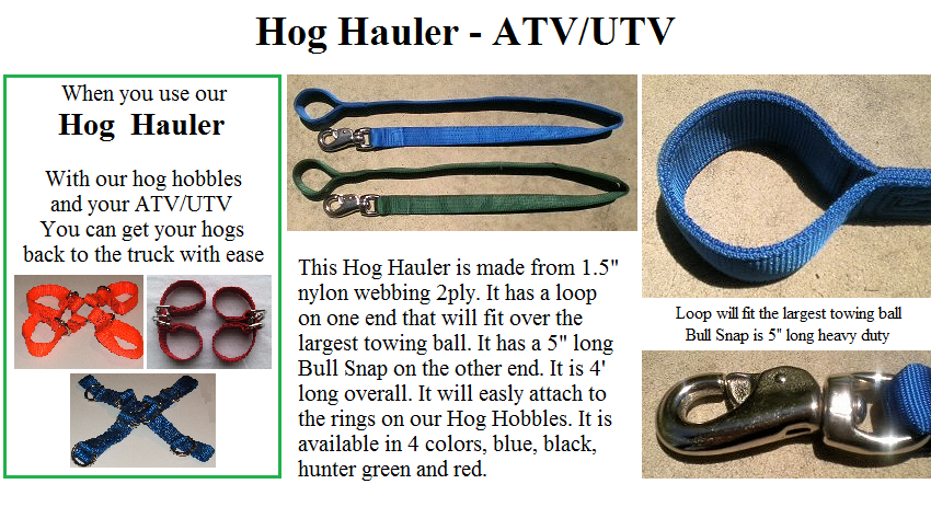 Hog Hauler use with your ATV/UTV