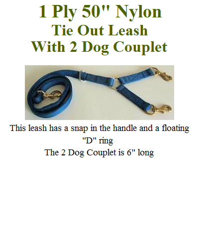 1 Ply Nylon 50 inch Hunting Leash with 2 Dog Couplet
