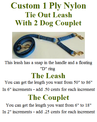 1 Ply Custom Nylon 50 inch Hunting Leash with 2 Dog Couplet